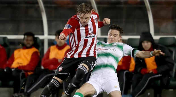 Big chance: Derry City star Ronan Curtis (left) could be on the move to League One side Portsmouth for next season