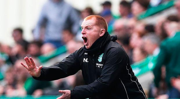 Lennon gives classic reaction after pitch invasion against Rangers