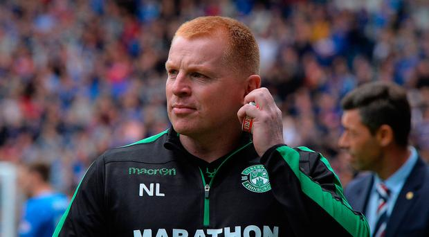 Neil Lennon heads towards Rangers support to celebrate equaliser