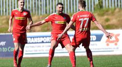Cliftonville v Glentoran Europa league Play Off Cliftonville's Rory Donnelly scores to make it 2-0 during this afternoons game at Solitude in Belfast. Photo Colm Lenaghan/Pacemaker Press