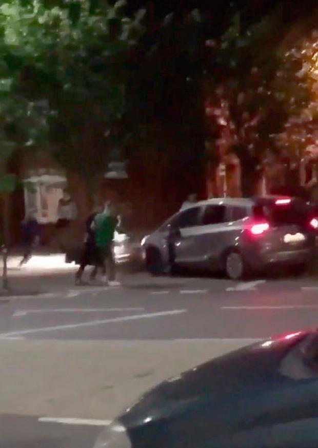 Video footage showing the incident in which a 17-yearold was knocked down by a grey car in north Belfast