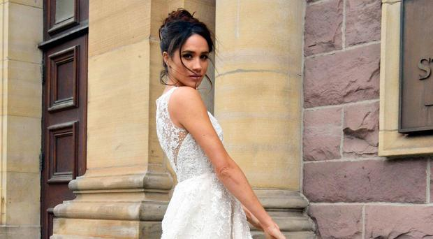 Bride-to-be: Meghan already has her Suits wedding gown picked out (pictured), but her real-life wedding gown remains a mystery