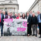 Anti-incinerator group No Arc 21 and local politicians celebrate outside the High Court in Belfast yesterday