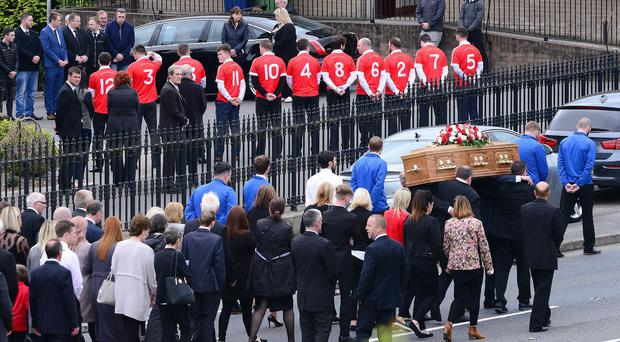 The funeral of a talented footballer Niall O'Hanlon described as someone who