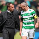 Close bond: Brendan Rodgers believes captain Scott Brown has a future in management
