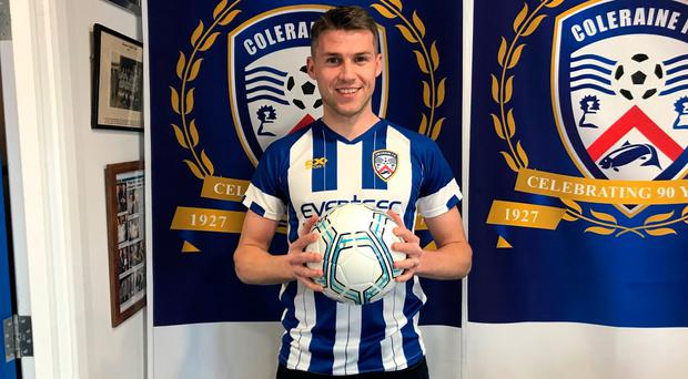 New look: Stephen Lowry is back in Coleraine colours