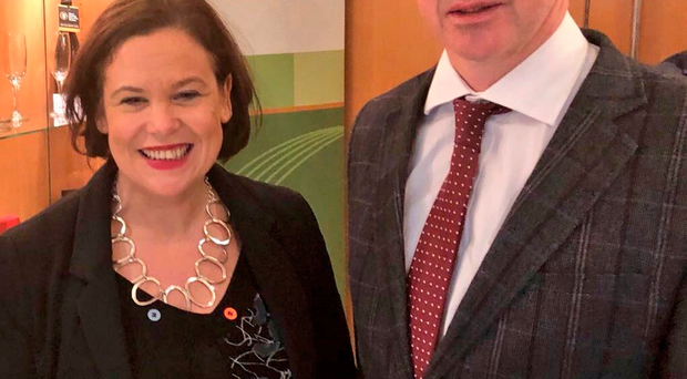 Ian Marshall with Sinn Fein president Mary Lou McDonald in Dublin