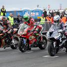 PACEMAKER, BELFAST, 15/5/2018: Michael Rutter (Bathams BMW), Glenn Irwin (PBM Ducati) and Alastair Seeley (Tyco BMW) on the grid during the first practice session of the 2018 Vauxhall International North West 200. PICTURE BY STEPHEN DAVISON