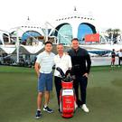 Modest! Golf Management team at the Emirates Golf Club in Dubai earlier this year where several of their players competed. (L-R) Niall Horan, Ian Watts and Mark McDonnell