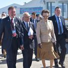 HRH Princess Anne visits the Balmoral Show today accompanied by RUAS president Cyril Millar and Chief Executive Alan Crowe (L). Photo by Aaron McCracken RUAS/No Repro Fee