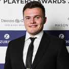 Top award: Jacob Stockdale at Dublin ceremony last night