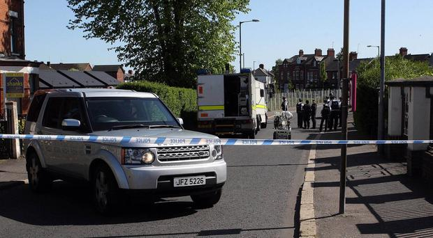 Police at the scene of a security alert at Fortwilliam Parade in north Belfast. Picture by Freddie Parkinson/Press Eye ©