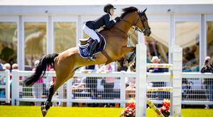 Rebecca McGoldrick rides on Duco during the second day of the Balmoral show