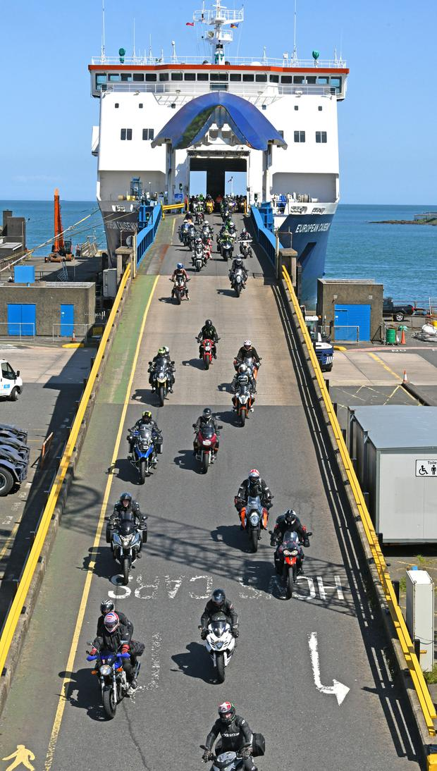 Bikers descend a P&O ferry