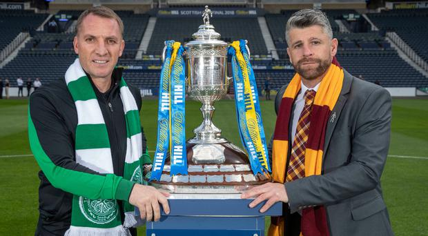 Top prize: Celtic boss Brendan Rodgers (left) and fellow Ulsterman Stephen Robinson of Motherwell