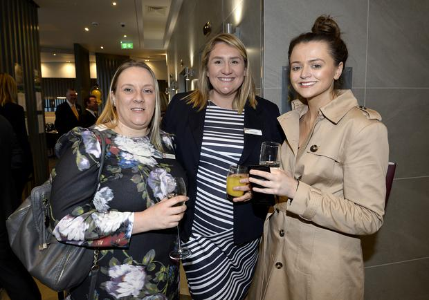 17th May 2018 Naomi Wilson,Christine Beatty and Marie Claire Caldwell pictured at the Grand opening of the new Maldron Hotel in Brunswick street in Belfast Mandatory Credit: Presseye/Stephen Hamilton