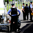 Police at the scene of security alert at Fortwilliam Parade in north Belfast