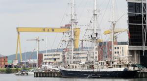 Tall ships docked in Belfast for The Titanic Maritime Festival which runs today and tomorrow