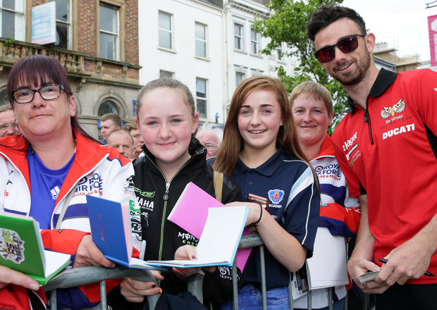 Fan power: Superbike pole position man Glenn Irwin meets his fans at the Meet the Stars event in Coleraine