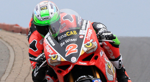 On top: Glenn Irwin on way to pole position in Superbike qualifying
