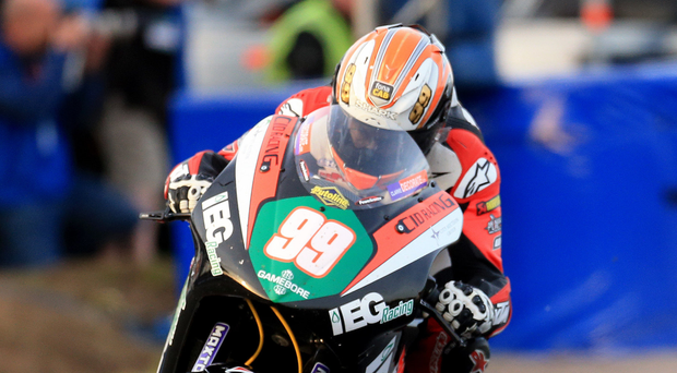 Powering on: Jeremy McWilliams leads the Supertwins race at the NW200 on Thursday