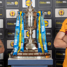 Final mission: Celtic captain Scott Brown and Motherwell skipper Carl McHugh get up close with the Scottish Cup