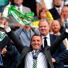 Brendan Rodgers celebrates Celtic's latest Scottish Cup success.