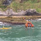 Three canoeist rescued off rocks in Ballycastle. Pic: RNLI