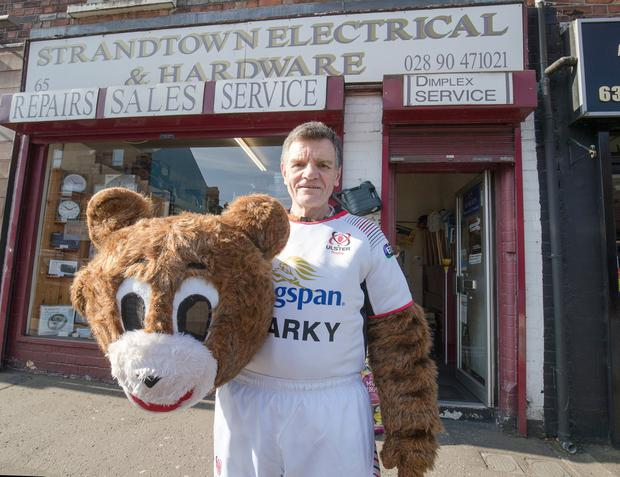 Strandtown Electrical and Harware shop owner Norman Pollock who has been SPARKY the Ulster Rugby mascott for the past 18 years is to retire. Picture Colm O'Reilly 18-05-2018