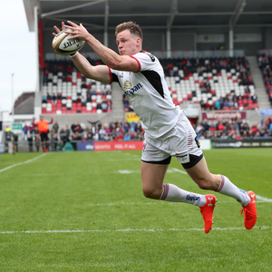 Brace bagged: Ulster's Craig Gilroy scores first of two tries at Kingspan yesterday