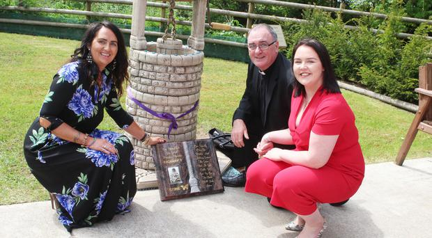 Zachary Geddis's mum Louise (left) offically opened his wishing well at the Angel of Hope Memorial Garden in Coleraine. She was joined by local priest Father Sheehan from St Malachy's Parish in Coleraine and Yasmin Geddis, Zachary's sister
