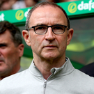 Old Bhoy: Martin O'Neill watches the match at Parkhead yesterday