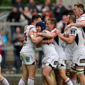 Ulster players celebrates Jacob Stockdale's try against Ospreys. Mandatory Credit ©INPHO/Dan Sheridan