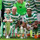Celtic's Leigh Griffiths, Scott Brown and Scott Sinclair during Sunday's testimonial match at Celtic Park, Glasgow.