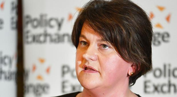 Arlene Foster speaks at a Policy Exchange conference titled The Union and Unionism – Past, Present and Future (John Stillwell/PA)