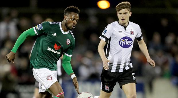 John Cofie (left) made just one start during his short spell at Derry City.