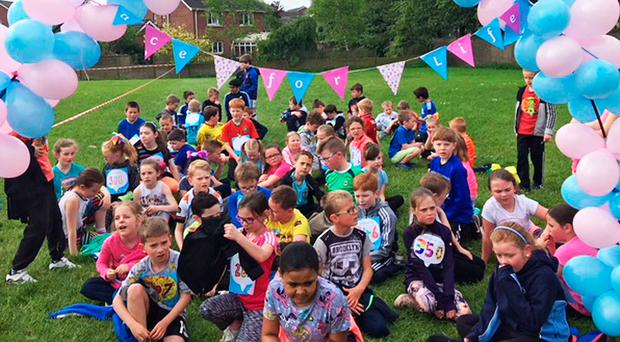 Some of the 600 pupils who took part in the school's Race for Life