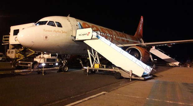 Delayed easyJet flight from Gatwick at Belfast International Airport.