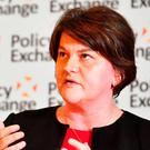 DUP leader Arlene Foster speaking in central London at the Policy Exchange conference titled The Union and Unionism — Past, Present and Future