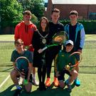Gearing up: Windsor Lawn Tennis Club welcomed (back row) Jordan McKeown, Lord Mayor of Belfast Nuala McAllister, Matthew Saunders, Caolan McCarroll and (front row) Cian McDonnell, Dylan Leeman ahead of next month's Belfast City ITF Junior Tournament