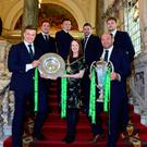 Grand day out: Lord Mayor of Belfast Cllr Nuala McAllister hosted a reception for the Irish rugby team after their Grand Slam and Six Nations wins this year. She is joined by (from left) Ireland's Josh van der Flier, Rob Herring, Jacob Stockdale, Fergus McFadden, Iain Henderson and captain Rory Best