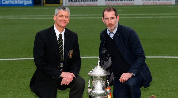 In with the new: Gary Smyth (left) is the Glens' choice to succeed Gary Haveron, who was sacked in February