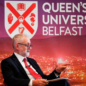 BELFAST, NORTHERN IRELAND - MAY 24: Labour leader Jeremy Corbyn delivers a speech at Queens University on May 24, 2018 in Belfast, Northern Ireland. Mr Corbyn was making his first visit to Northern Ireland since he was elected as Labour leader three years ago, during his speech in Belfast he insisted the he will not support any Brexit deal that supports a hard border with the Republic of Ireland. (Photo by Jeff J Mitchell/Getty Images)