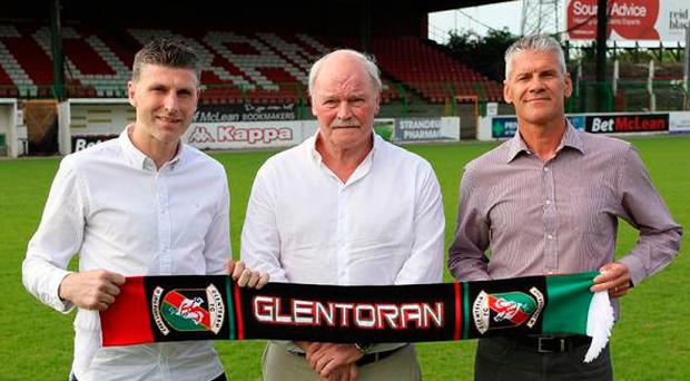 (L-R) Paul Leeman, Ronnie McFall and Gary Smyth, Glentoran's new coaching staff