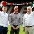 Dream team: the new Glentoran management team of Gary Smyth (centre), Paul Leeman (left) and Ronnie McFall at the Oval last night