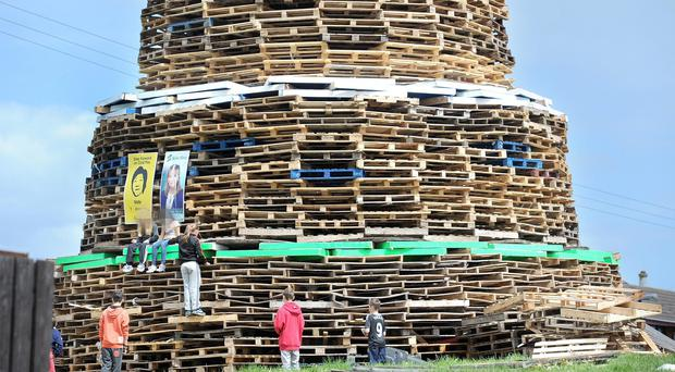 The bonfire built at the Bloomfield Walkway in 2014