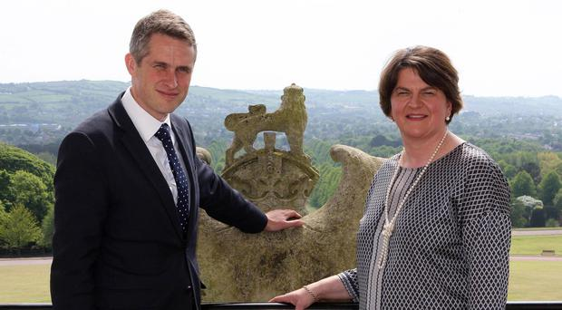 DUP Leader Arlene Foster with Defence Secretary Gavin Williamson