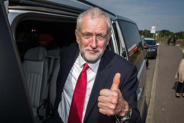Labour leader Jeremy Corbyn gives the thumbs up after a visit to Lifford Bridge on the Irish border, during the second day of a two-day trip to learn more about how Brexit affects the country. PRESS ASSOCIATION Photo. Picture date: Friday May 25, 2018. See PA story ULSTER Corbyn. Photo credit should read: Liam McBurney/PA Wire