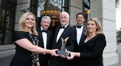 The 40th Northern Ireland Tourism Awards took place last night at The Europa Hotel, Belfast. Pictured is Petra Wolsey of Beannchor Group, who picked up the award on behalf of her husband, Tourism NI Chief Executive, John McGrillen, Chairman of Tourism NI Terence Brannigan, Jorge Lopes, Country Director of Diageo NI and Caitriona Lavery of Hastings Hotels. Photo by Kelvin Boyes / Press Eye