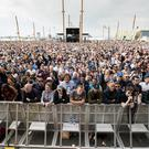 Pictured the crowd on the Titanic Slipway for the BBC Big Weekend stage in Belfast. Credit: Liam McBurney/RAZORPIX